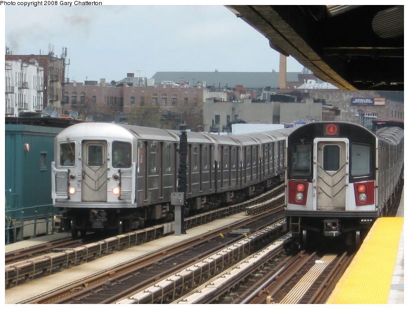 (143k, 820x620)<br><b>Country:</b> United States<br><b>City:</b> New York<br><b>System:</b> New York City Transit<br><b>Line:</b> IRT Woodlawn Line<br><b>Location:</b> 183rd Street <br><b>Route:</b> 4<br><b>Car:</b> R-62 (Kawasaki, 1983-1985)   <br><b>Photo by:</b> Gary Chatterton<br><b>Date:</b> 5/4/2008<br><b>Notes:</b> With R142A 7741<br><b>Viewed (this week/total):</b> 5 / 2822