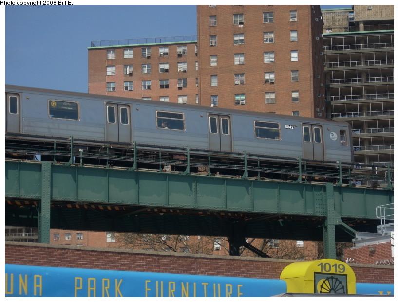 (176k, 819x619)<br><b>Country:</b> United States<br><b>City:</b> New York<br><b>System:</b> New York City Transit<br><b>Location:</b> Coney Island/Stillwell Avenue<br><b>Route:</b> Q<br><b>Car:</b> R-68A (Kawasaki, 1988-1989)  5042 <br><b>Photo by:</b> Bill E.<br><b>Date:</b> 4/23/2008<br><b>Viewed (this week/total):</b> 5 / 2096