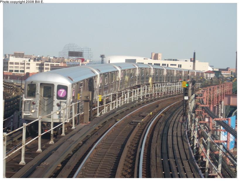 (168k, 819x619)<br><b>Country:</b> United States<br><b>City:</b> New York<br><b>System:</b> New York City Transit<br><b>Line:</b> IRT Flushing Line<br><b>Location:</b> Queensborough Plaza <br><b>Route:</b> 7<br><b>Car:</b> R-62A (Bombardier, 1984-1987)   <br><b>Photo by:</b> Bill E.<br><b>Date:</b> 4/23/2008<br><b>Viewed (this week/total):</b> 1 / 1742