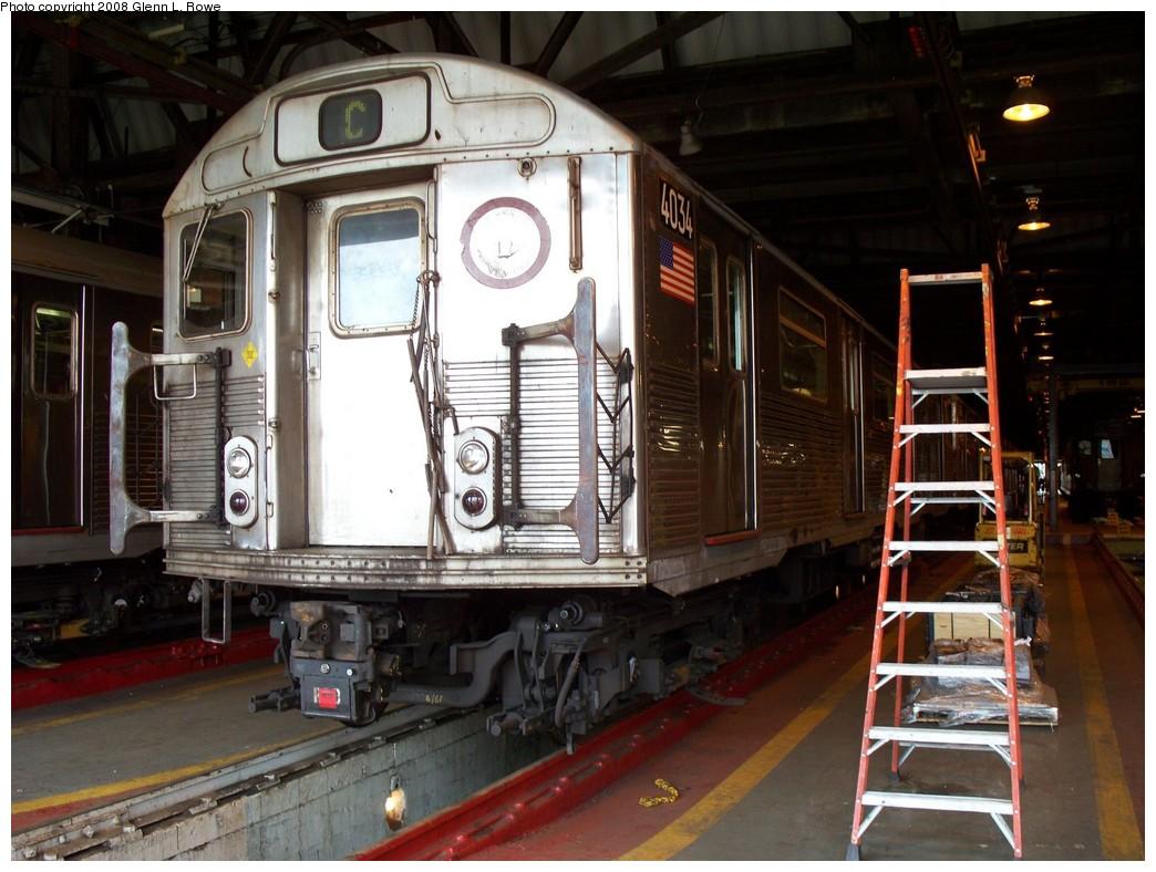 (219k, 1044x788)<br><b>Country:</b> United States<br><b>City:</b> New York<br><b>System:</b> New York City Transit<br><b>Location:</b> 207th Street Shop<br><b>Car:</b> R-38 (St. Louis, 1966-1967)  4034 <br><b>Photo by:</b> Glenn L. Rowe<br><b>Date:</b> 5/7/2008<br><b>Viewed (this week/total):</b> 2 / 1929