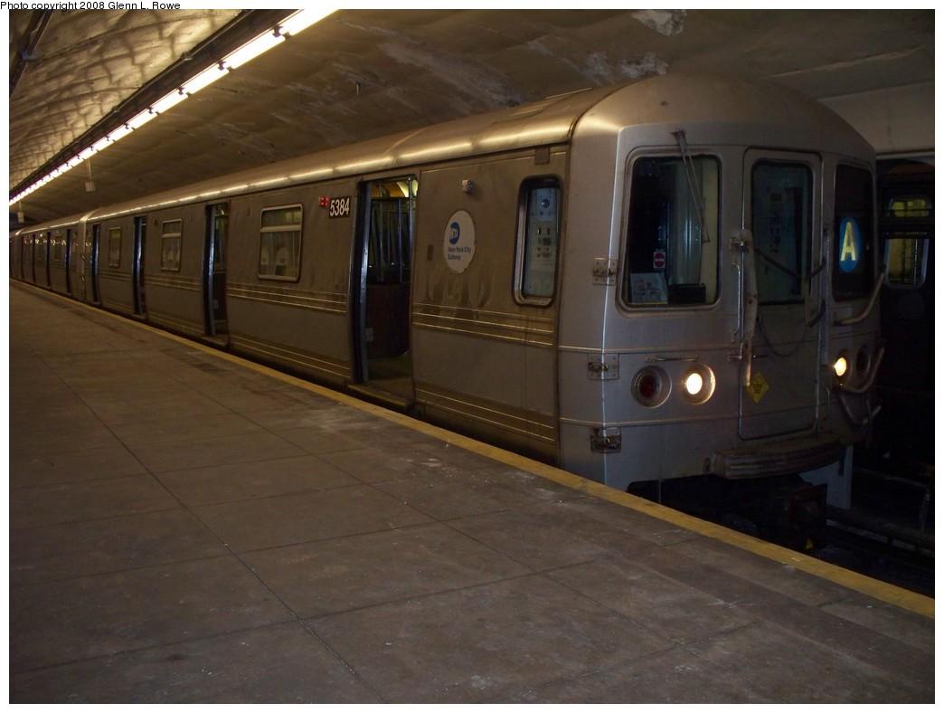 (168k, 1044x788)<br><b>Country:</b> United States<br><b>City:</b> New York<br><b>System:</b> New York City Transit<br><b>Line:</b> IND 8th Avenue Line<br><b>Location:</b> 190th Street/Overlook Terrace <br><b>Route:</b> A<br><b>Car:</b> R-44 (St. Louis, 1971-73) 5384 <br><b>Photo by:</b> Glenn L. Rowe<br><b>Date:</b> 5/7/2008<br><b>Viewed (this week/total):</b> 0 / 1160