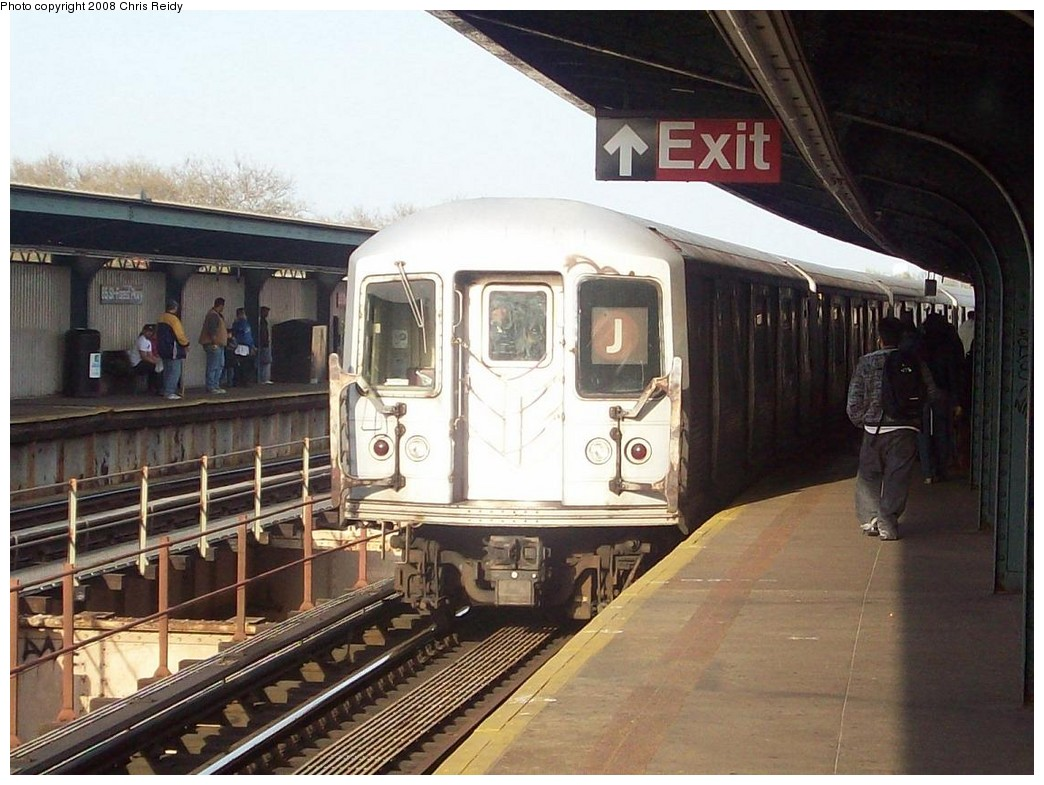 (215k, 1044x785)<br><b>Country:</b> United States<br><b>City:</b> New York<br><b>System:</b> New York City Transit<br><b>Line:</b> BMT Nassau Street/Jamaica Line<br><b>Location:</b> 85th Street/Forest Parkway <br><b>Route:</b> J<br><b>Car:</b> R-42 (St. Louis, 1969-1970)  4799 <br><b>Photo by:</b> Chris Reidy<br><b>Date:</b> 4/21/2008<br><b>Viewed (this week/total):</b> 0 / 2081