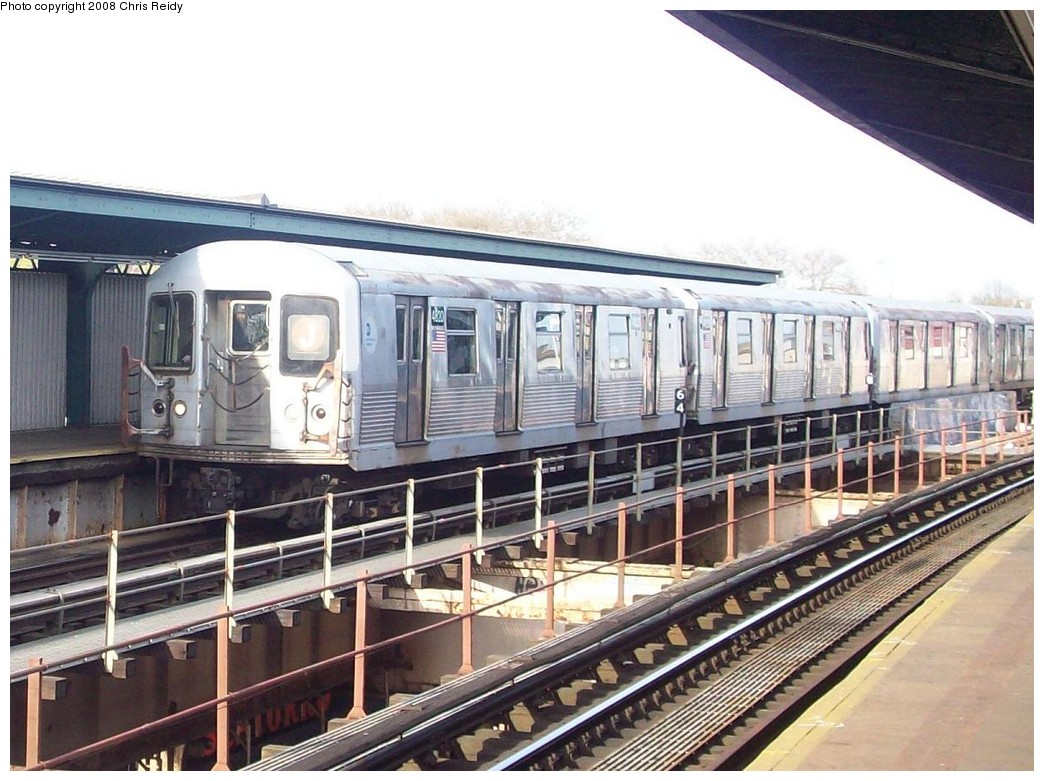 (224k, 1044x781)<br><b>Country:</b> United States<br><b>City:</b> New York<br><b>System:</b> New York City Transit<br><b>Line:</b> BMT Nassau Street/Jamaica Line<br><b>Location:</b> 85th Street/Forest Parkway <br><b>Route:</b> J<br><b>Car:</b> R-42 (St. Louis, 1969-1970)  4820 <br><b>Photo by:</b> Chris Reidy<br><b>Date:</b> 4/21/2008<br><b>Viewed (this week/total):</b> 2 / 1986
