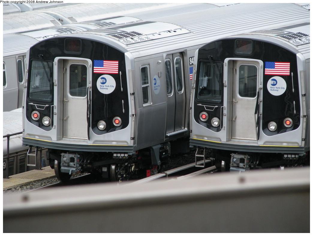 (202k, 1044x788)<br><b>Country:</b> United States<br><b>City:</b> New York<br><b>System:</b> New York City Transit<br><b>Location:</b> East New York Yard/Shops<br><b>Car:</b> R-160A-1 (Alstom, 2005-2008, 4 car sets)  84xx <br><b>Photo by:</b> Andrew Johnson<br><b>Date:</b> 4/7/2008<br><b>Viewed (this week/total):</b> 0 / 1657