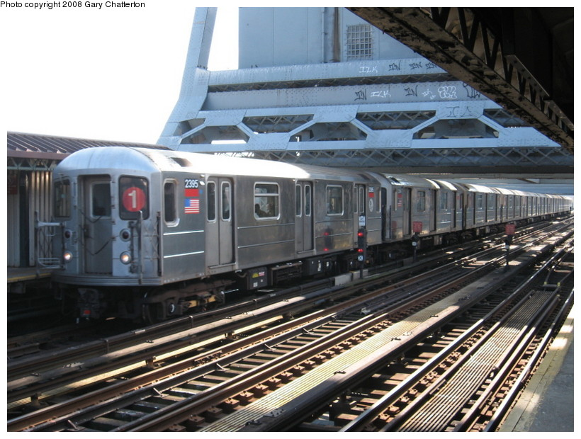 (159k, 820x620)<br><b>Country:</b> United States<br><b>City:</b> New York<br><b>System:</b> New York City Transit<br><b>Line:</b> IRT West Side Line<br><b>Location:</b> 225th Street <br><b>Route:</b> 1<br><b>Car:</b> R-62A (Bombardier, 1984-1987)  2395 <br><b>Photo by:</b> Gary Chatterton<br><b>Date:</b> 3/11/2008<br><b>Viewed (this week/total):</b> 2 / 1644