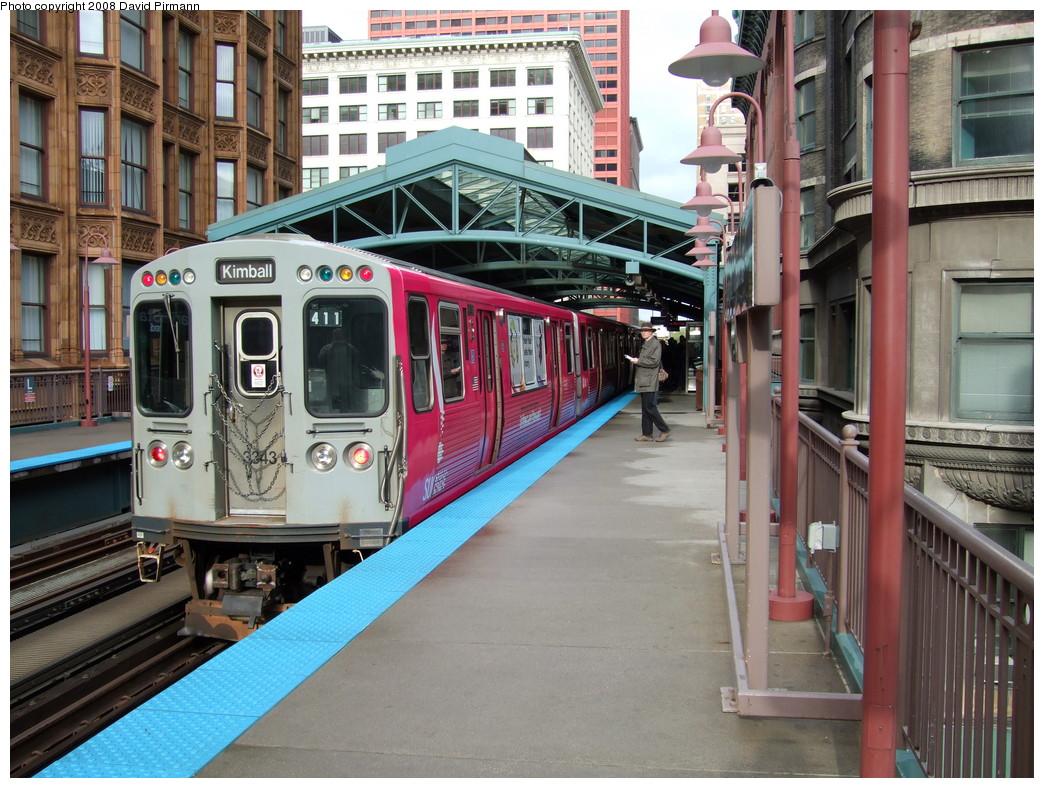 (271k, 1044x788)<br><b>Country:</b> United States<br><b>City:</b> Chicago, IL<br><b>System:</b> Chicago Transit Authority<br><b>Line:</b> CTA Loop<br><b>Location:</b> Library/State/Van Buren<br><b>Route:</b> Brown<br><b>Car:</b> CTA 3200 Series 3343 <br><b>Photo by:</b> David Pirmann<br><b>Date:</b> 5/3/2008<br><b>Viewed (this week/total):</b> 1 / 711