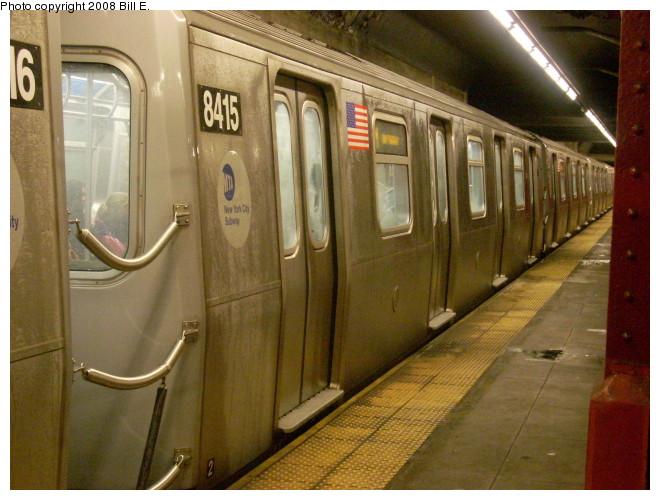 (131k, 660x500)<br><b>Country:</b> United States<br><b>City:</b> New York<br><b>System:</b> New York City Transit<br><b>Line:</b> BMT Nassau Street/Jamaica Line<br><b>Location:</b> Bowery <br><b>Route:</b> M<br><b>Car:</b> R-160A-1 (Alstom, 2005-2008, 4 car sets)  8415 <br><b>Photo by:</b> Bill E.<br><b>Date:</b> 5/9/2008<br><b>Viewed (this week/total):</b> 1 / 2417