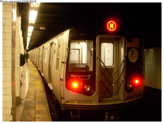 (116k, 660x500)<br><b>Country:</b> United States<br><b>City:</b> New York<br><b>System:</b> New York City Transit<br><b>Line:</b> BMT Nassau Street/Jamaica Line<br><b>Location:</b> Canal Street <br><b>Route:</b> M<br><b>Car:</b> R-160A-1 (Alstom, 2005-2008, 4 car sets)   <br><b>Photo by:</b> Bill E.<br><b>Date:</b> 5/9/2008<br><b>Viewed (this week/total):</b> 0 / 2623