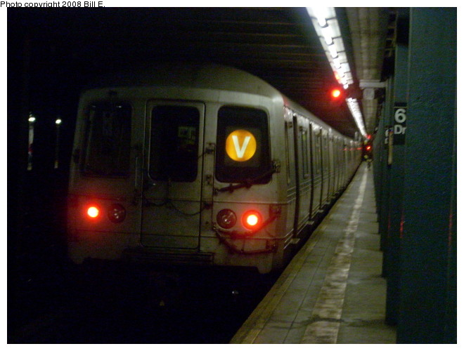 (110k, 660x500)<br><b>Country:</b> United States<br><b>City:</b> New York<br><b>System:</b> New York City Transit<br><b>Line:</b> IND Queens Boulevard Line<br><b>Location:</b> 63rd Drive/Rego Park <br><b>Route:</b> V<br><b>Car:</b> R-46 (Pullman-Standard, 1974-75)  <br><b>Photo by:</b> Bill E.<br><b>Date:</b> 5/9/2008<br><b>Viewed (this week/total):</b> 3 / 2211
