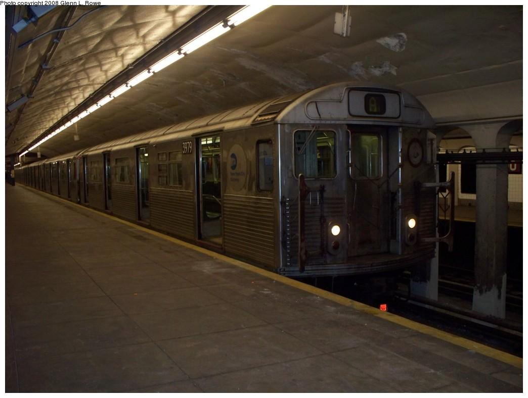 (165k, 1044x788)<br><b>Country:</b> United States<br><b>City:</b> New York<br><b>System:</b> New York City Transit<br><b>Line:</b> IND 8th Avenue Line<br><b>Location:</b> 190th Street/Overlook Terrace <br><b>Route:</b> A<br><b>Car:</b> R-38 (St. Louis, 1966-1967)  3979 <br><b>Photo by:</b> Glenn L. Rowe<br><b>Date:</b> 5/12/2008<br><b>Viewed (this week/total):</b> 0 / 1916
