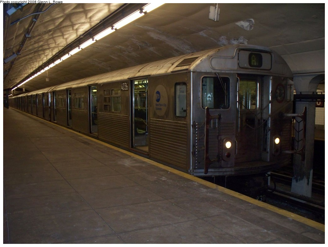 (176k, 1044x788)<br><b>Country:</b> United States<br><b>City:</b> New York<br><b>System:</b> New York City Transit<br><b>Line:</b> IND 8th Avenue Line<br><b>Location:</b> 190th Street/Overlook Terrace <br><b>Route:</b> A<br><b>Car:</b> R-38 (St. Louis, 1966-1967)  4036 <br><b>Photo by:</b> Glenn L. Rowe<br><b>Date:</b> 5/12/2008<br><b>Viewed (this week/total):</b> 0 / 1778