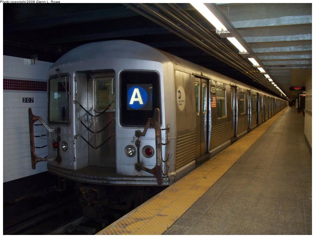 (184k, 1044x788)<br><b>Country:</b> United States<br><b>City:</b> New York<br><b>System:</b> New York City Transit<br><b>Line:</b> IND 8th Avenue Line<br><b>Location:</b> 207th Street <br><b>Route:</b> A<br><b>Car:</b> R-42 (St. Louis, 1969-1970)  4551 <br><b>Photo by:</b> Glenn L. Rowe<br><b>Date:</b> 5/13/2008<br><b>Viewed (this week/total):</b> 2 / 1724