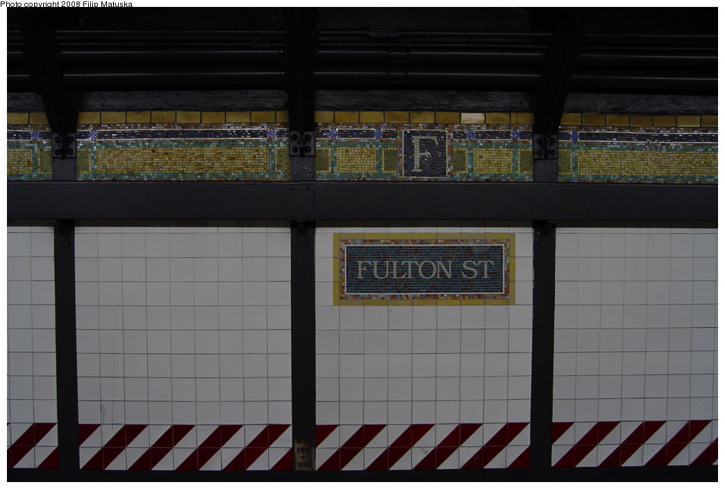 (152k, 1044x705)<br><b>Country:</b> United States<br><b>City:</b> New York<br><b>System:</b> New York City Transit<br><b>Line:</b> IRT West Side Line<br><b>Location:</b> Fulton Street <br><b>Photo by:</b> Filip Matuska<br><b>Date:</b> 6/7/2007<br><b>Viewed (this week/total):</b> 2 / 1849
