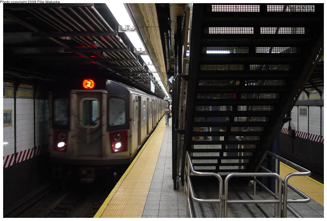 (198k, 1044x705)<br><b>Country:</b> United States<br><b>City:</b> New York<br><b>System:</b> New York City Transit<br><b>Line:</b> IRT West Side Line<br><b>Location:</b> Fulton Street <br><b>Route:</b> 2<br><b>Car:</b> R-142 or R-142A (Number Unknown)  <br><b>Photo by:</b> Filip Matuska<br><b>Date:</b> 6/7/2007<br><b>Viewed (this week/total):</b> 0 / 3461