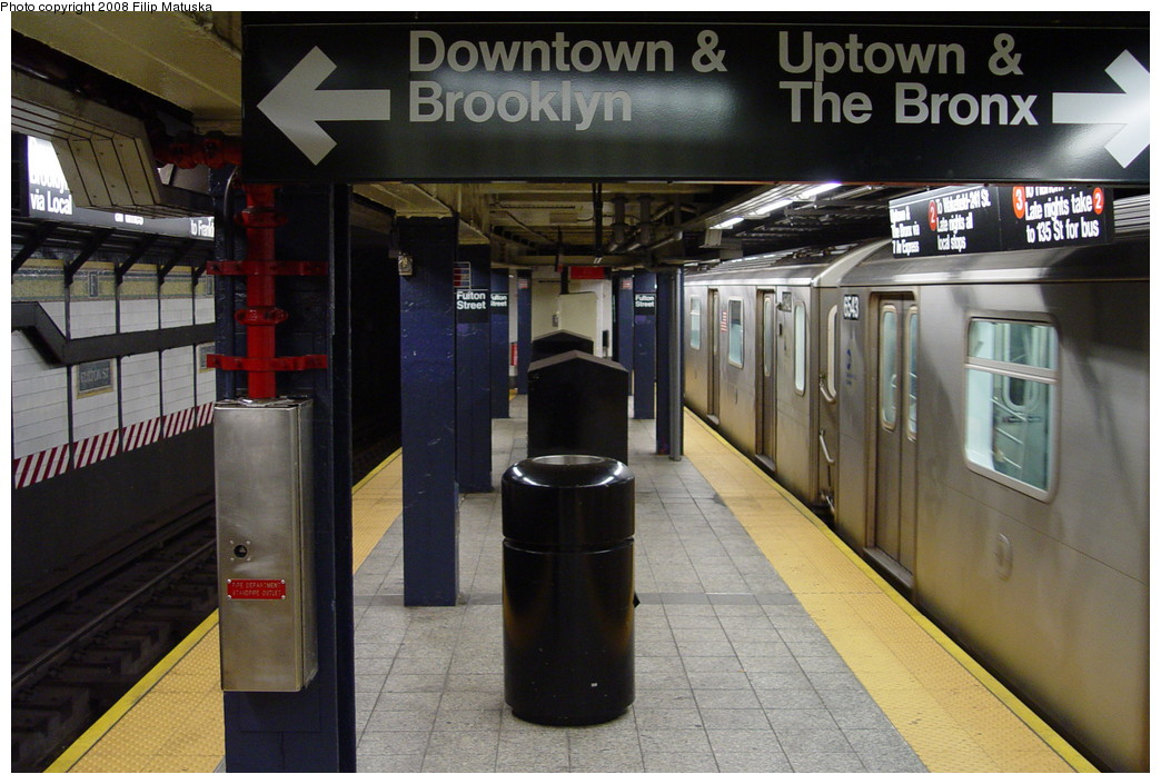 (203k, 1044x705)<br><b>Country:</b> United States<br><b>City:</b> New York<br><b>System:</b> New York City Transit<br><b>Line:</b> IRT West Side Line<br><b>Location:</b> Fulton Street <br><b>Route:</b> 2<br><b>Car:</b> R-142 (Primary Order, Bombardier, 1999-2002)  6543 <br><b>Photo by:</b> Filip Matuska<br><b>Date:</b> 6/7/2007<br><b>Viewed (this week/total):</b> 6 / 3705