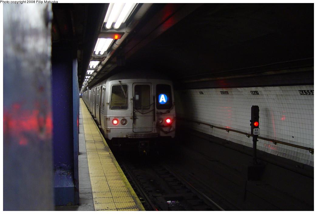 (152k, 1044x705)<br><b>Country:</b> United States<br><b>City:</b> New York<br><b>System:</b> New York City Transit<br><b>Line:</b> IND 8th Avenue Line<br><b>Location:</b> Fulton Street (Broadway/Nassau) <br><b>Route:</b> A<br><b>Car:</b> R-44 (St. Louis, 1971-73)  <br><b>Photo by:</b> Filip Matuska<br><b>Date:</b> 6/7/2007<br><b>Viewed (this week/total):</b> 1 / 2423