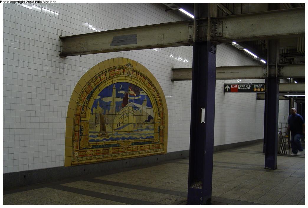 (189k, 1044x705)<br><b>Country:</b> United States<br><b>City:</b> New York<br><b>System:</b> New York City Transit<br><b>Line:</b> IND 8th Avenue Line<br><b>Location:</b> Fulton Street (Broadway/Nassau) <br><b>Photo by:</b> Filip Matuska<br><b>Date:</b> 6/7/2007<br><b>Artwork:</b> <i>Marine Grill Murals, 1913</i>, Fred Dana Marsh (2000).<br><b>Viewed (this week/total):</b> 2 / 1966