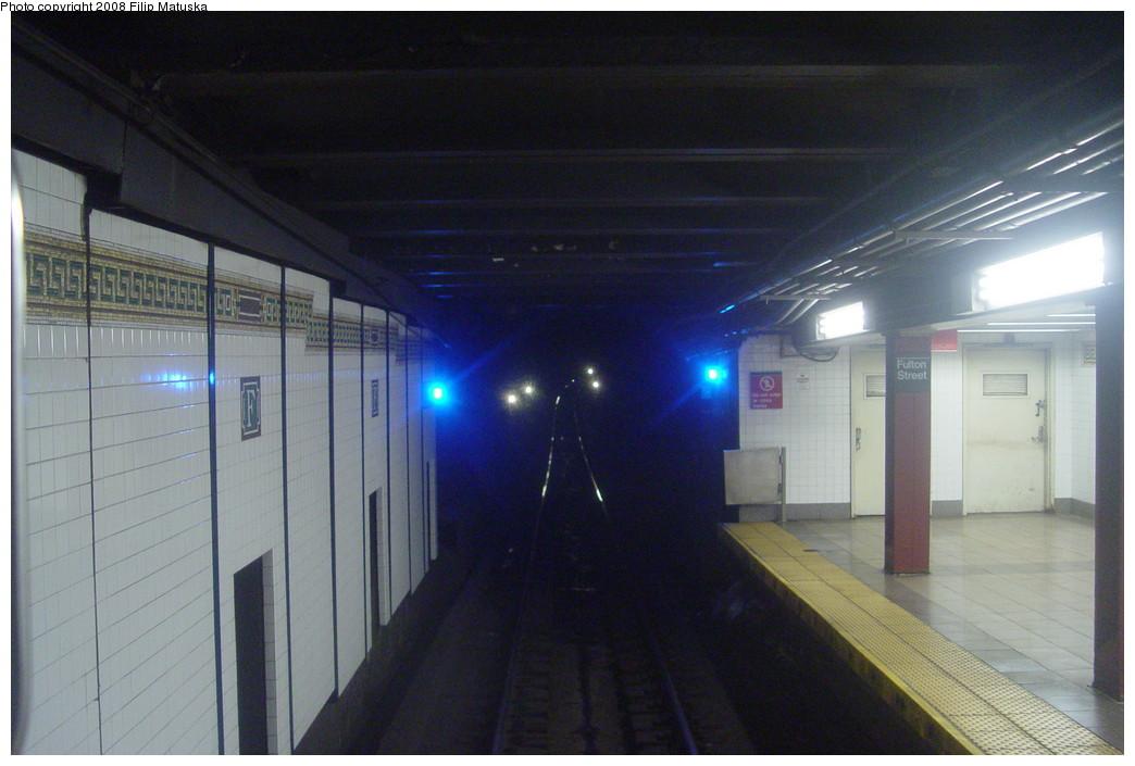 (176k, 1044x705)<br><b>Country:</b> United States<br><b>City:</b> New York<br><b>System:</b> New York City Transit<br><b>Line:</b> BMT Nassau Street/Jamaica Line<br><b>Location:</b> Fulton Street <br><b>Photo by:</b> Filip Matuska<br><b>Date:</b> 6/7/2007<br><b>Viewed (this week/total):</b> 3 / 2125
