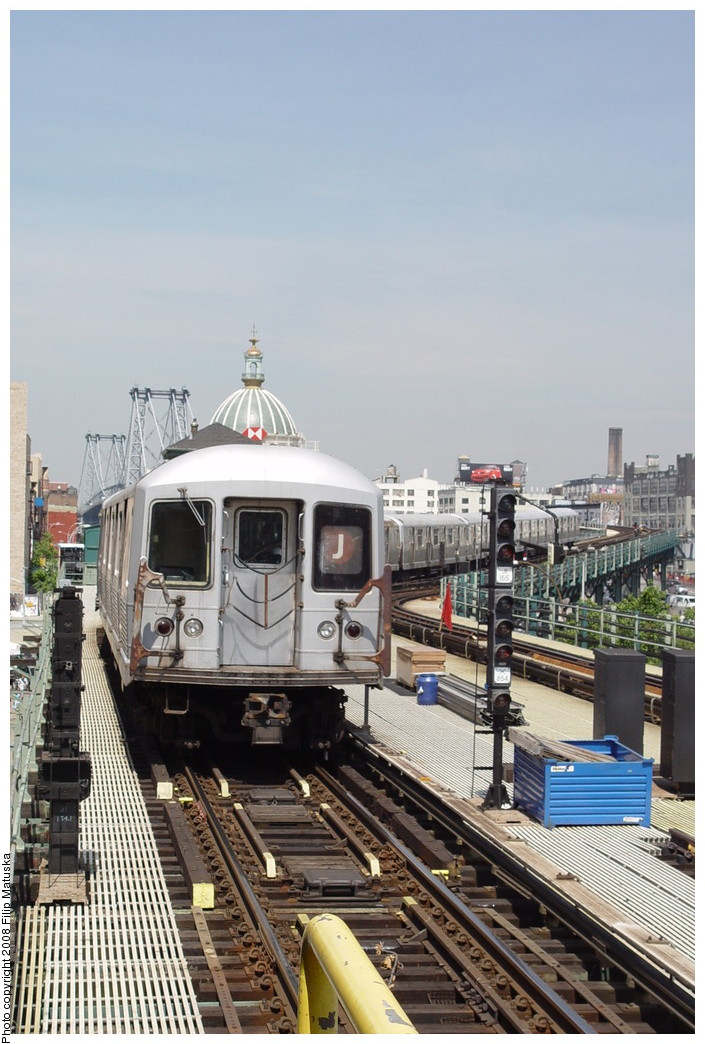 (202k, 705x1044)<br><b>Country:</b> United States<br><b>City:</b> New York<br><b>System:</b> New York City Transit<br><b>Line:</b> BMT Nassau Street/Jamaica Line<br><b>Location:</b> Marcy Avenue <br><b>Route:</b> J<br><b>Car:</b> R-42 (St. Louis, 1969-1970)   <br><b>Photo by:</b> Filip Matuska<br><b>Date:</b> 6/7/2007<br><b>Viewed (this week/total):</b> 3 / 1170