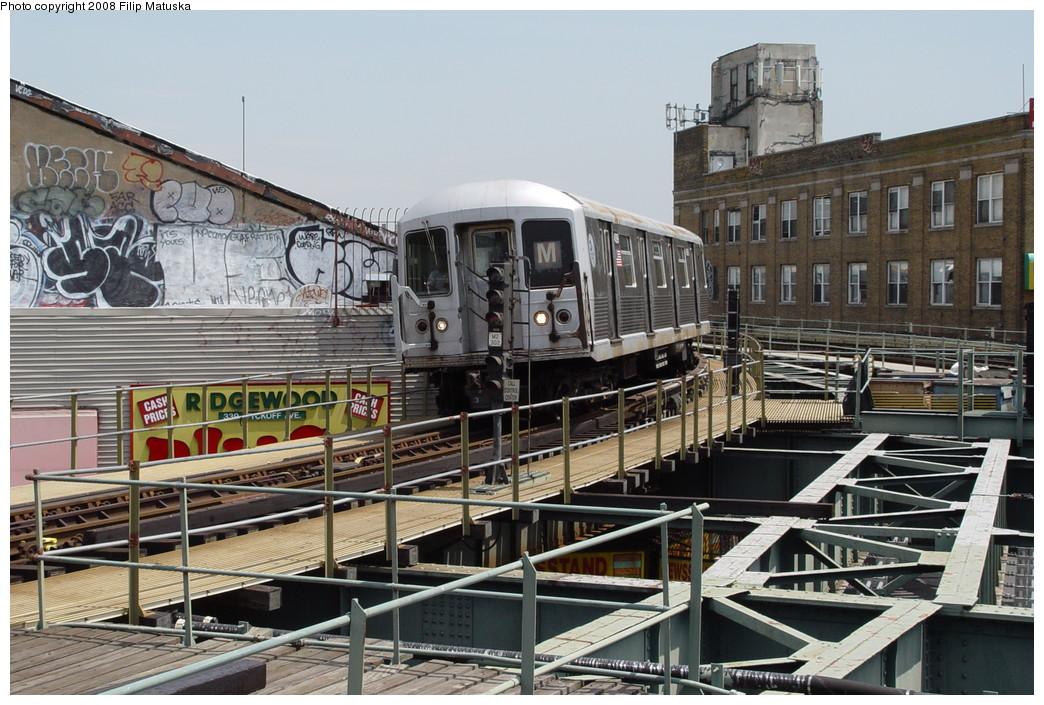 (240k, 1044x705)<br><b>Country:</b> United States<br><b>City:</b> New York<br><b>System:</b> New York City Transit<br><b>Line:</b> BMT Myrtle Avenue Line<br><b>Location:</b> Wyckoff Avenue <br><b>Route:</b> M<br><b>Car:</b> R-42 (St. Louis, 1969-1970)  4598 <br><b>Photo by:</b> Filip Matuska<br><b>Date:</b> 6/7/2007<br><b>Viewed (this week/total):</b> 2 / 1920