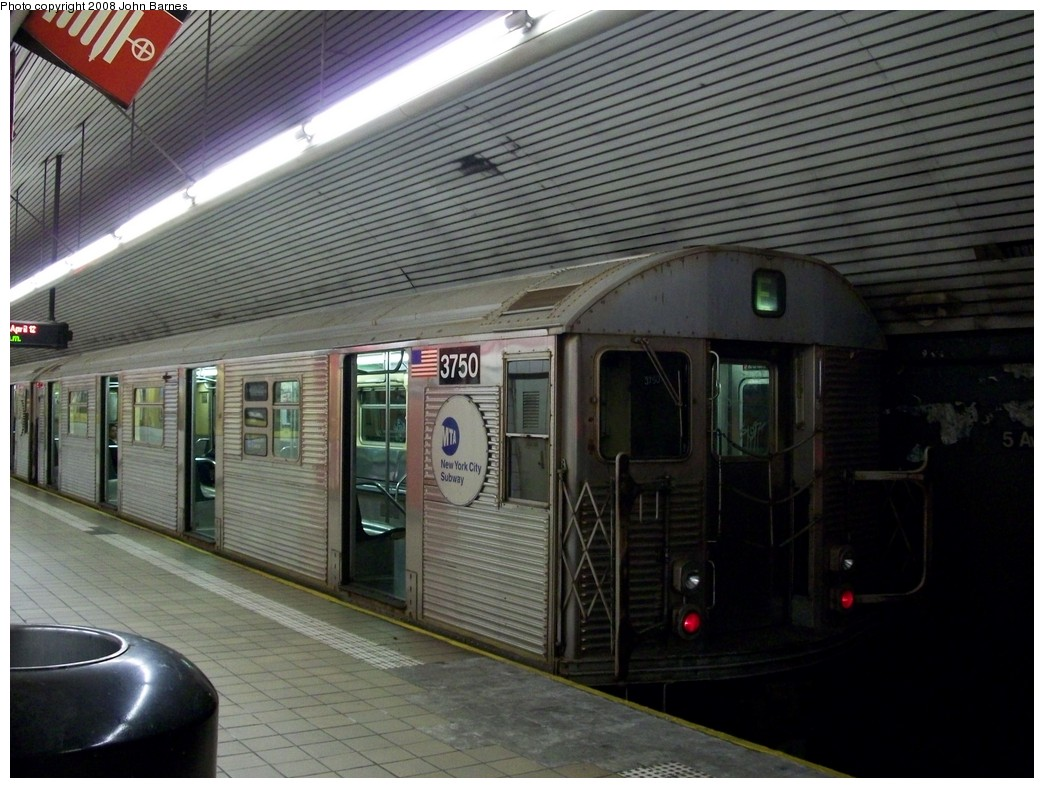 (218k, 1044x788)<br><b>Country:</b> United States<br><b>City:</b> New York<br><b>System:</b> New York City Transit<br><b>Line:</b> IND Queens Boulevard Line<br><b>Location:</b> 5th Avenue/53rd Street <br><b>Route:</b> E<br><b>Car:</b> R-32 (Budd, 1964)  3750 <br><b>Photo by:</b> John Barnes<br><b>Date:</b> 4/11/2008<br><b>Viewed (this week/total):</b> 0 / 1822