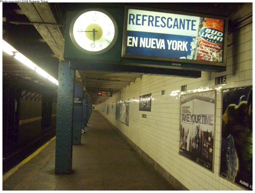 (219k, 1044x791)<br><b>Country:</b> United States<br><b>City:</b> New York<br><b>System:</b> New York City Transit<br><b>Line:</b> IND 8th Avenue Line<br><b>Location:</b> 116th Street <br><b>Photo by:</b> Roberto C. Tobar<br><b>Date:</b> 5/17/2008<br><b>Viewed (this week/total):</b> 2 / 2362