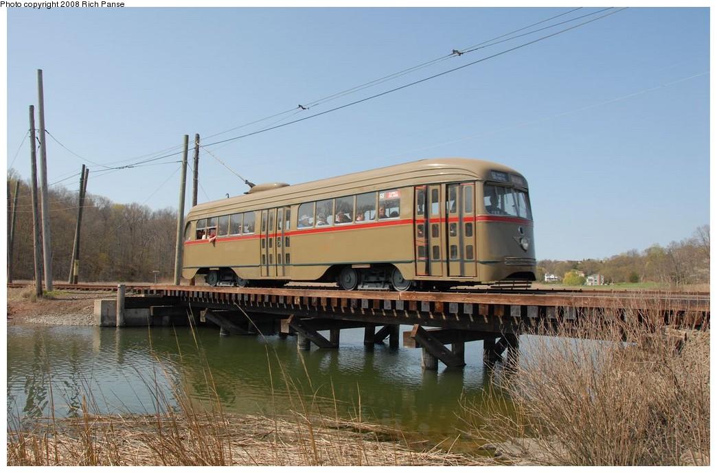 (192k, 1044x689)<br><b>Country:</b> United States<br><b>City:</b> East Haven/Branford, Ct.<br><b>System:</b> Shore Line Trolley Museum <br><b>Car:</b> Brooklyn & Queens Transit PCC (St. Louis Car, 1936)  1001 <br><b>Photo by:</b> Richard Panse<br><b>Date:</b> 4/26/2008<br><b>Viewed (this week/total):</b> 2 / 1171