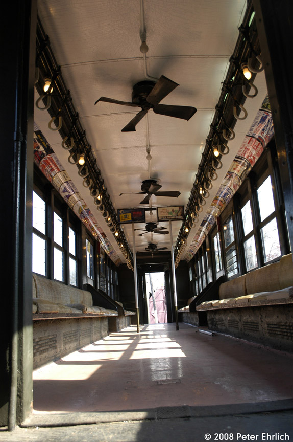 (183k, 574x864)<br><b>Country:</b> United States<br><b>City:</b> East Haven/Branford, Ct.<br><b>System:</b> Shore Line Trolley Museum <br><b>Car:</b> Low-V 5466 <br><b>Photo by:</b> Peter Ehrlich<br><b>Date:</b> 4/26/2008<br><b>Notes:</b> Interior view.<br><b>Viewed (this week/total):</b> 0 / 970