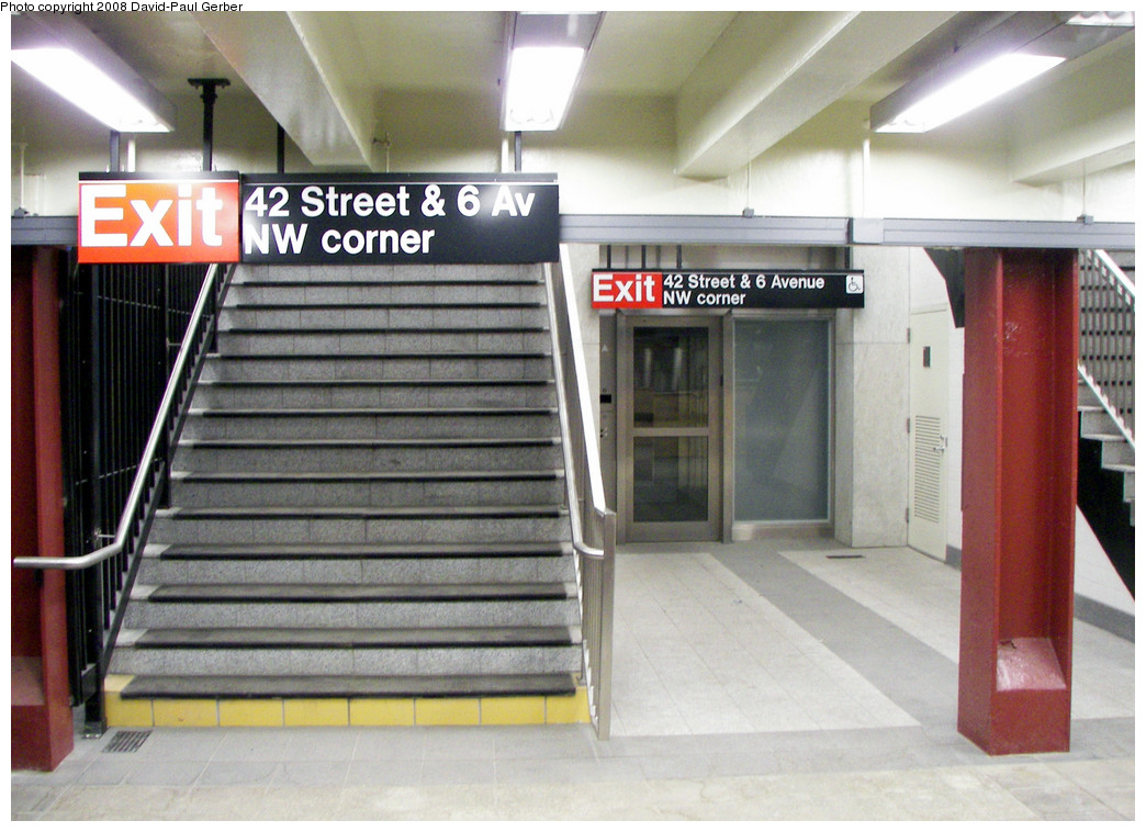 (267k, 1044x758)<br><b>Country:</b> United States<br><b>City:</b> New York<br><b>System:</b> New York City Transit<br><b>Line:</b> IND 6th Avenue Line<br><b>Location:</b> 42nd Street/Bryant Park <br><b>Photo by:</b> David-Paul Gerber<br><b>Date:</b> 5/14/2008<br><b>Notes:</b> New accessible entrance at Bank of America tower site, NW corner of 42nd & 6th.<br><b>Viewed (this week/total):</b> 1 / 1748