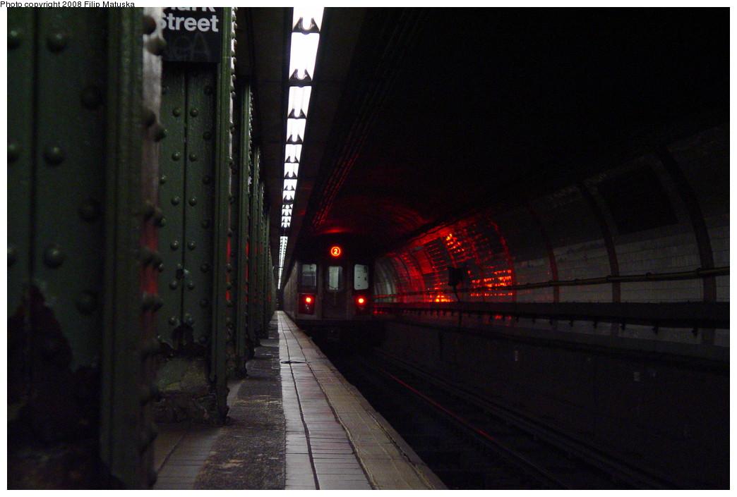 (161k, 1044x705)<br><b>Country:</b> United States<br><b>City:</b> New York<br><b>System:</b> New York City Transit<br><b>Line:</b> IRT Brooklyn Line<br><b>Location:</b> Clark Street <br><b>Route:</b> 2<br><b>Car:</b> R-142 or R-142A (Number Unknown)  <br><b>Photo by:</b> Filip Matuska<br><b>Date:</b> 6/8/2007<br><b>Viewed (this week/total):</b> 0 / 2846