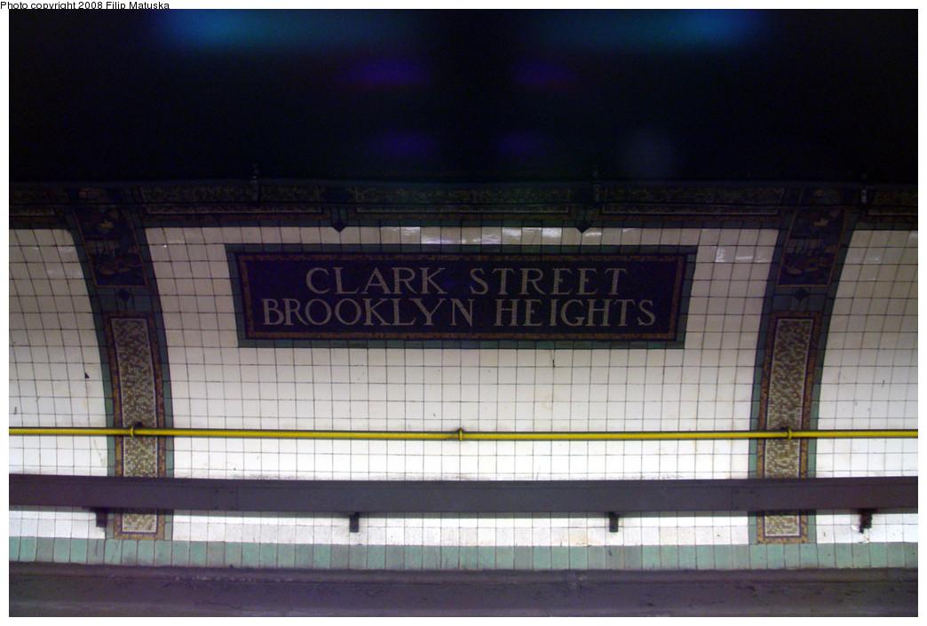 (234k, 1044x705)<br><b>Country:</b> United States<br><b>City:</b> New York<br><b>System:</b> New York City Transit<br><b>Line:</b> IRT Brooklyn Line<br><b>Location:</b> Clark Street <br><b>Photo by:</b> Filip Matuska<br><b>Date:</b> 6/8/2007<br><b>Viewed (this week/total):</b> 0 / 1987