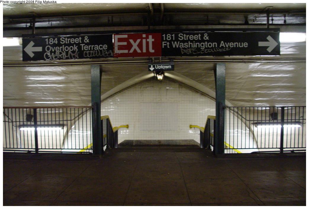 (205k, 1044x705)<br><b>Country:</b> United States<br><b>City:</b> New York<br><b>System:</b> New York City Transit<br><b>Line:</b> IND 8th Avenue Line<br><b>Location:</b> 181st Street <br><b>Photo by:</b> Filip Matuska<br><b>Date:</b> 6/10/2007<br><b>Viewed (this week/total):</b> 4 / 1604