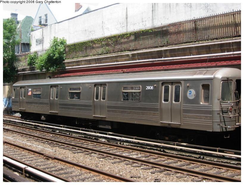 (178k, 820x620)<br><b>Country:</b> United States<br><b>City:</b> New York<br><b>System:</b> New York City Transit<br><b>Line:</b> BMT Brighton Line<br><b>Location:</b> Cortelyou Road <br><b>Route:</b> Q<br><b>Car:</b> R-68 (Westinghouse-Amrail, 1986-1988)  2908 <br><b>Photo by:</b> Gary Chatterton<br><b>Date:</b> 5/21/2008<br><b>Viewed (this week/total):</b> 0 / 1965