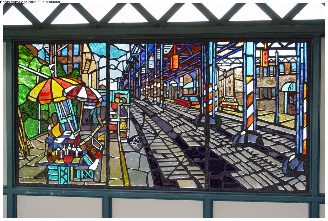 (317k, 1044x705)<br><b>Country:</b> United States<br><b>City:</b> New York<br><b>System:</b> New York City Transit<br><b>Line:</b> IRT White Plains Road Line<br><b>Location:</b> Freeman Street <br><b>Photo by:</b> Filip Matuska<br><b>Date:</b> 6/12/2007<br><b>Artwork:</b> <i>The El</i>, Daniel Hauben (2005).<br><b>Viewed (this week/total):</b> 2 / 2411