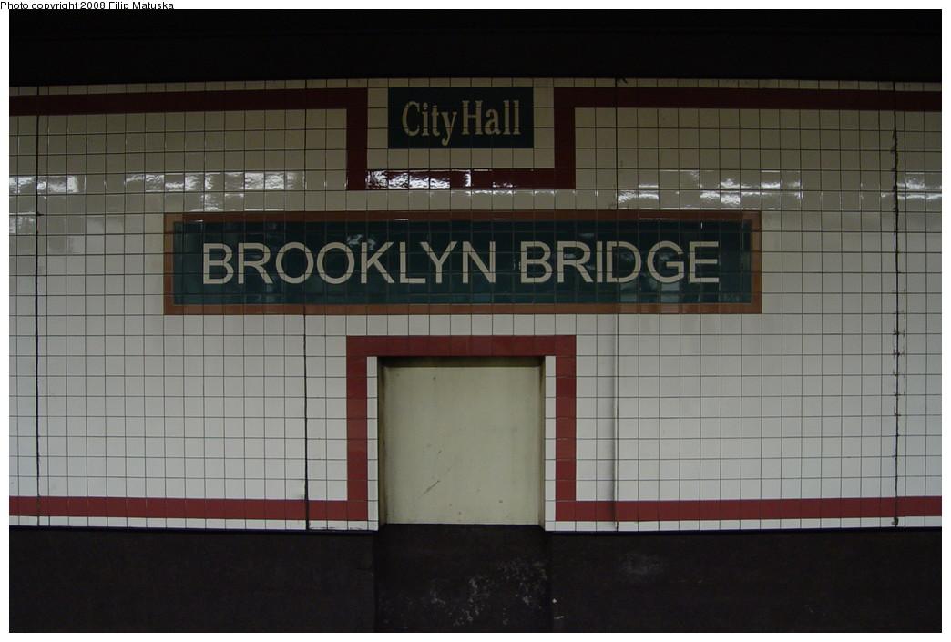 (153k, 1044x705)<br><b>Country:</b> United States<br><b>City:</b> New York<br><b>System:</b> New York City Transit<br><b>Line:</b> IRT East Side Line<br><b>Location:</b> Brooklyn Bridge/City Hall <br><b>Photo by:</b> Filip Matuska<br><b>Date:</b> 6/13/2007<br><b>Viewed (this week/total):</b> 0 / 1866