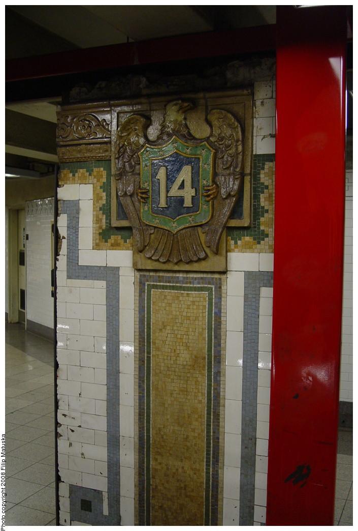 (177k, 705x1044)<br><b>Country:</b> United States<br><b>City:</b> New York<br><b>System:</b> New York City Transit<br><b>Line:</b> IRT East Side Line<br><b>Location:</b> 14th Street/Union Square <br><b>Photo by:</b> Filip Matuska<br><b>Date:</b> 6/13/2007<br><b>Artwork:</b> <i>Framing Union Square</i>, Mary Miss (1998).<br><b>Viewed (this week/total):</b> 3 / 2106