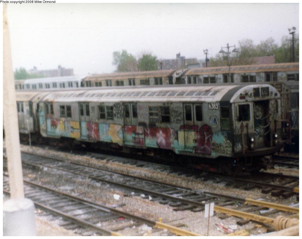 (249k, 1044x828)<br><b>Country:</b> United States<br><b>City:</b> New York<br><b>System:</b> New York City Transit<br><b>Location:</b> Rockaway Parkway (Canarsie) Yard<br><b>Car:</b> R-16 (American Car & Foundry, 1955) 6383 <br><b>Photo by:</b> Mike Ormond<br><b>Notes:</b> 1981 or 1982<br><b>Viewed (this week/total):</b> 0 / 3305