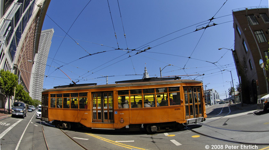 (175k, 864x483)<br><b>Country:</b> United States<br><b>City:</b> San Francisco/Bay Area, CA<br><b>System:</b> SF MUNI<br><b>Location:</b> Steuart/Don Chee Way <br><b>Car:</b> Milan Milano/Peter Witt (1927-1930)  1856 <br><b>Photo by:</b> Peter Ehrlich<br><b>Date:</b> 5/21/2008<br><b>Notes:</b> Fisheye view of cars at Steuart/Don Chee Way. (Inbound)<br><b>Viewed (this week/total):</b> 0 / 418