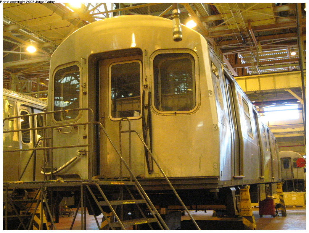 (261k, 1044x788)<br><b>Country:</b> United States<br><b>City:</b> New York<br><b>System:</b> New York City Transit<br><b>Location:</b> Coney Island Shop/Overhaul & Repair Shop<br><b>Car:</b> R-143 (Kawasaki, 2001-2002) 8134 <br><b>Photo by:</b> Jorge Catayi<br><b>Date:</b> 4/12/2008<br><b>Viewed (this week/total):</b> 0 / 2059