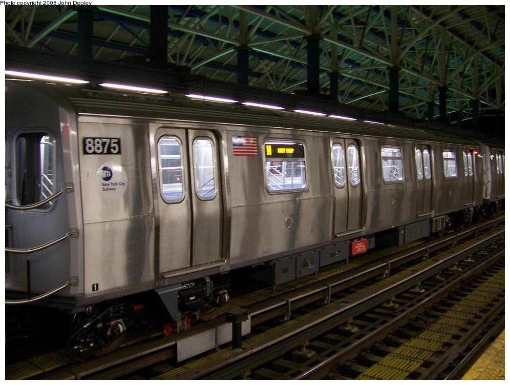 (209k, 1044x789)<br><b>Country:</b> United States<br><b>City:</b> New York<br><b>System:</b> New York City Transit<br><b>Location:</b> Coney Island/Stillwell Avenue<br><b>Route:</b> N<br><b>Car:</b> R-160B (Kawasaki, 2005-2008)  8875 <br><b>Photo by:</b> John Dooley<br><b>Date:</b> 1/18/2007<br><b>Viewed (this week/total):</b> 0 / 1889