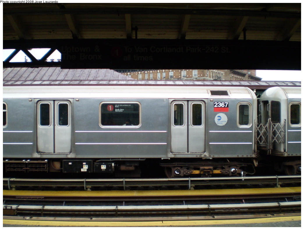 (196k, 1044x788)<br><b>Country:</b> United States<br><b>City:</b> New York<br><b>System:</b> New York City Transit<br><b>Line:</b> IRT West Side Line<br><b>Location:</b> 207th Street <br><b>Route:</b> 1<br><b>Car:</b> R-62A (Bombardier, 1984-1987)  2367 <br><b>Photo by:</b> Jose Lauzardo<br><b>Date:</b> 5/18/2008<br><b>Viewed (this week/total):</b> 0 / 2075