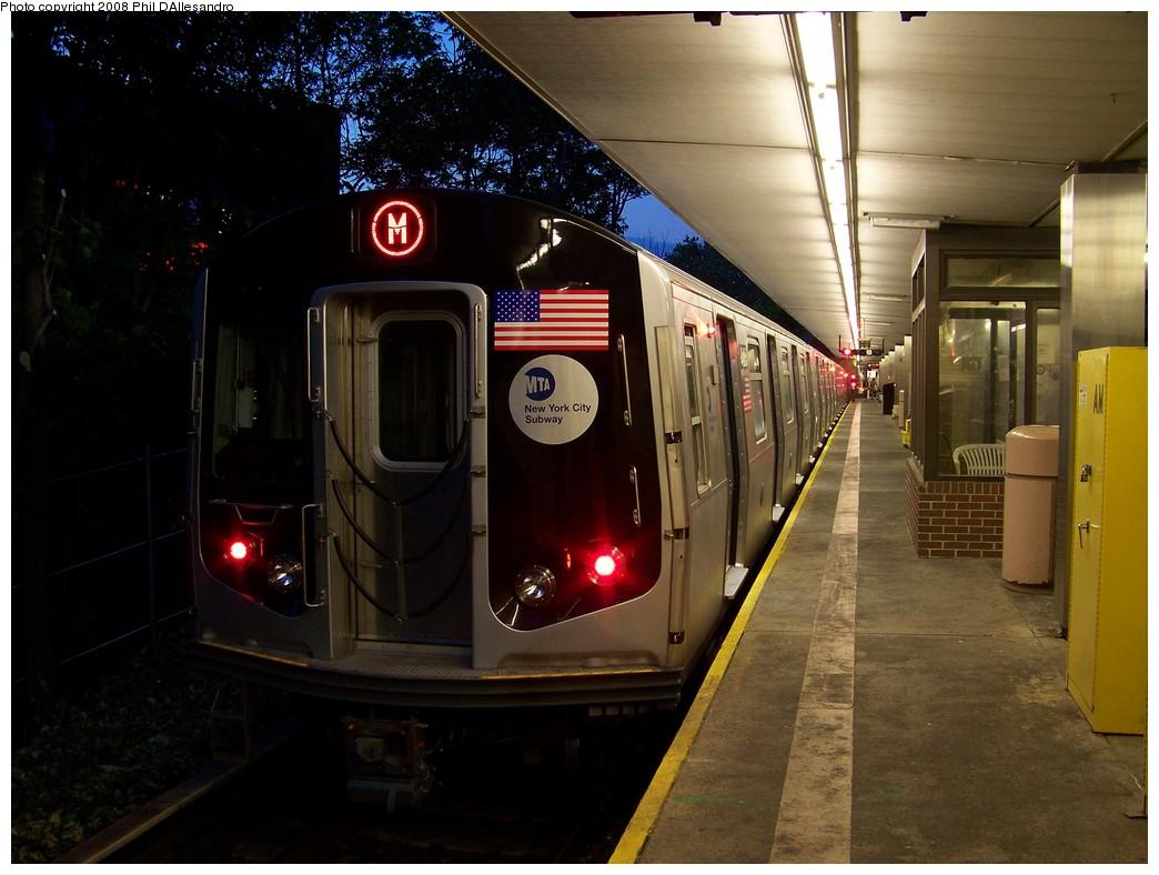 (201k, 1044x788)<br><b>Country:</b> United States<br><b>City:</b> New York<br><b>System:</b> New York City Transit<br><b>Line:</b> BMT Myrtle Avenue Line<br><b>Location:</b> Metropolitan Avenue <br><b>Route:</b> M<br><b>Car:</b> R-160A-1 (Alstom, 2005-2008, 4 car sets)  8485 <br><b>Photo by:</b> Philip D'Allesandro<br><b>Date:</b> 5/26/2008<br><b>Viewed (this week/total):</b> 0 / 2932