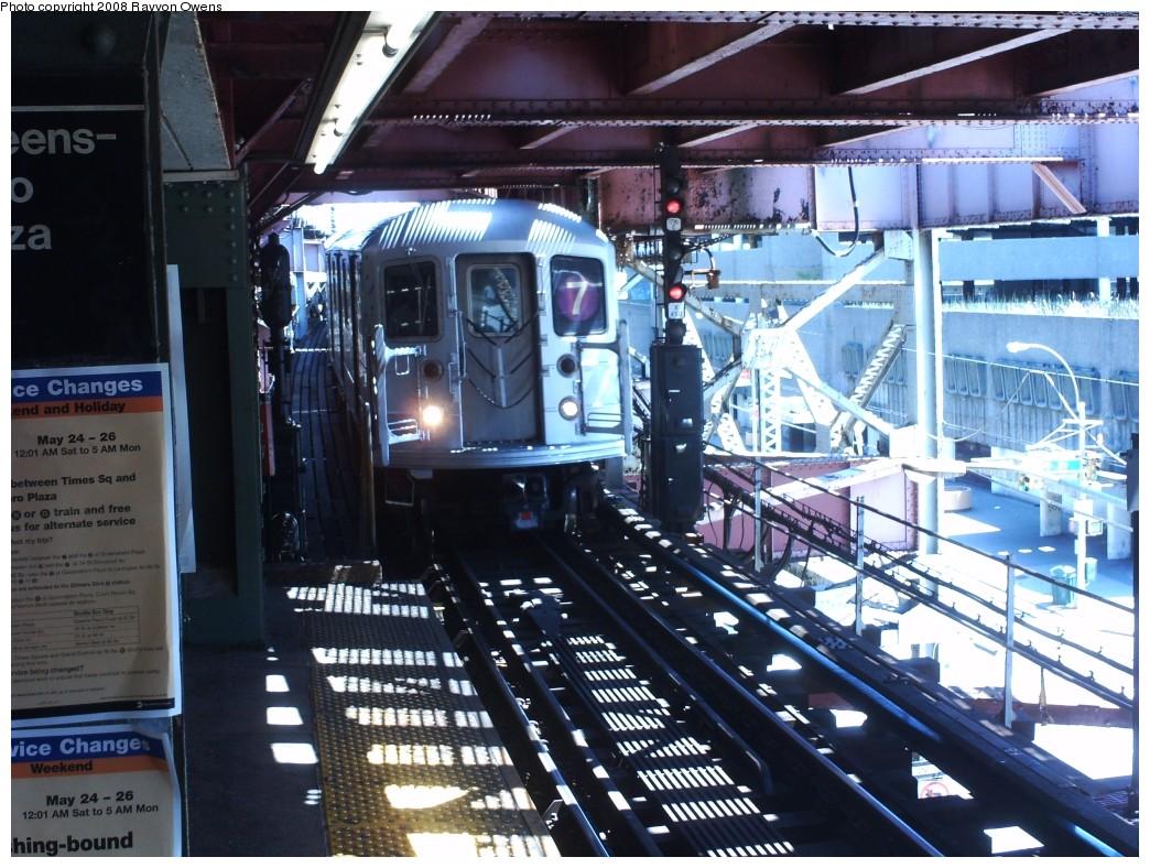 (250k, 1044x788)<br><b>Country:</b> United States<br><b>City:</b> New York<br><b>System:</b> New York City Transit<br><b>Line:</b> IRT Flushing Line<br><b>Location:</b> Queensborough Plaza <br><b>Route:</b> 7<br><b>Car:</b> R-62A (Bombardier, 1984-1987)  1741 <br><b>Photo by:</b> Rayvon Owens<br><b>Date:</b> 5/25/2008<br><b>Viewed (this week/total):</b> 0 / 1691