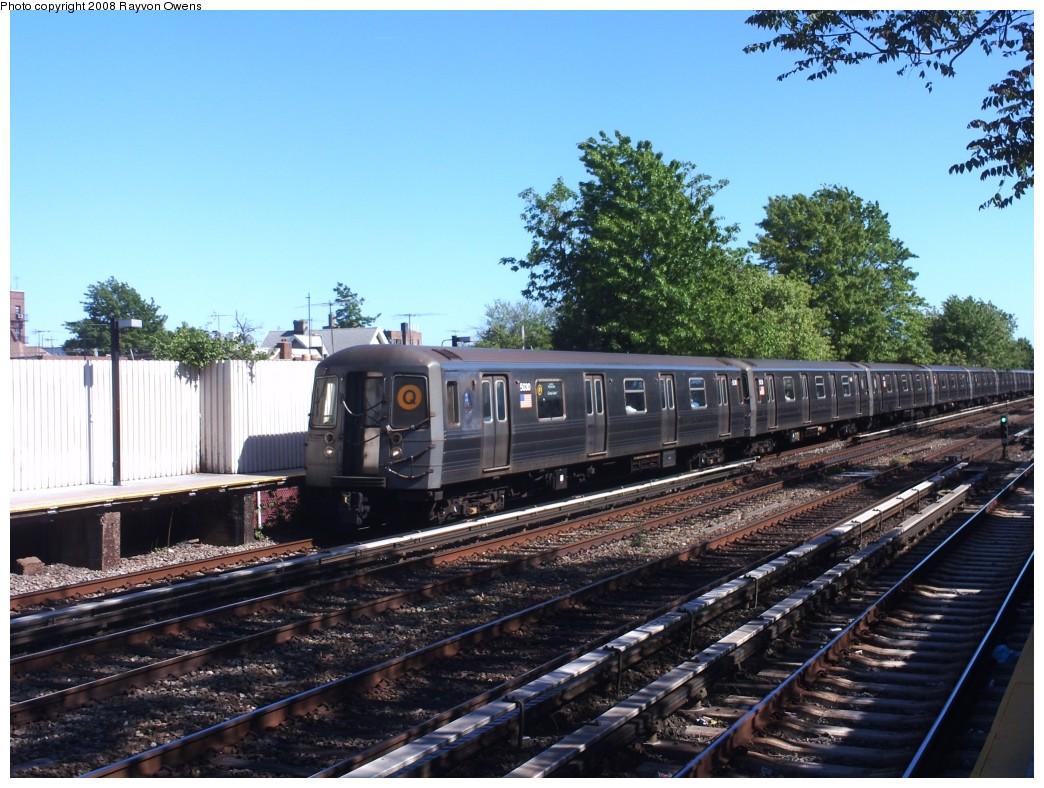 (237k, 1044x788)<br><b>Country:</b> United States<br><b>City:</b> New York<br><b>System:</b> New York City Transit<br><b>Line:</b> BMT Brighton Line<br><b>Location:</b> Avenue U <br><b>Route:</b> Q<br><b>Car:</b> R-68A (Kawasaki, 1988-1989)  5030 <br><b>Photo by:</b> Rayvon Owens<br><b>Date:</b> 5/25/2008<br><b>Viewed (this week/total):</b> 0 / 1678