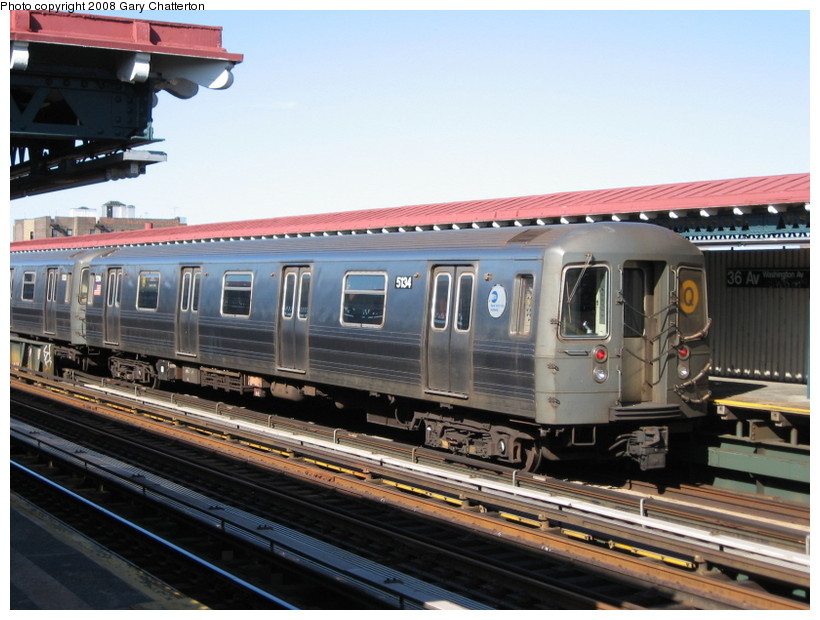 (140k, 820x620)<br><b>Country:</b> United States<br><b>City:</b> New York<br><b>System:</b> New York City Transit<br><b>Line:</b> BMT Astoria Line<br><b>Location:</b> 36th/Washington Aves. <br><b>Route:</b> Q reroute<br><b>Car:</b> R-68A (Kawasaki, 1988-1989)  5134 <br><b>Photo by:</b> Gary Chatterton<br><b>Date:</b> 5/25/2008<br><b>Viewed (this week/total):</b> 0 / 1585