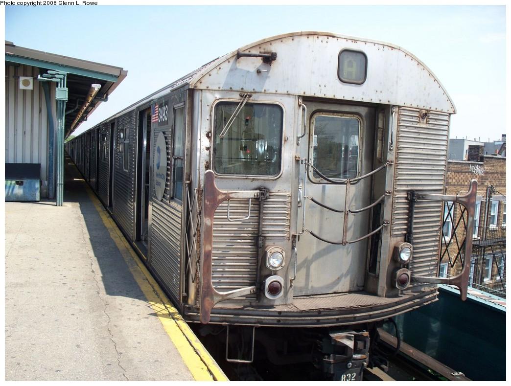 (240k, 1044x789)<br><b>Country:</b> United States<br><b>City:</b> New York<br><b>System:</b> New York City Transit<br><b>Line:</b> IND Fulton Street Line<br><b>Location:</b> Lefferts Boulevard <br><b>Route:</b> A<br><b>Car:</b> R-32 (Budd, 1964)  3493 <br><b>Photo by:</b> Glenn L. Rowe<br><b>Date:</b> 5/27/2008<br><b>Viewed (this week/total):</b> 0 / 1161
