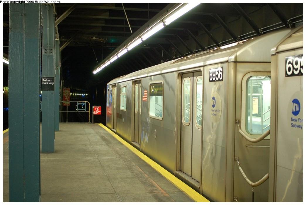 (218k, 1044x700)<br><b>Country:</b> United States<br><b>City:</b> New York<br><b>System:</b> New York City Transit<br><b>Line:</b> IRT Dyre Ave. Line<br><b>Location:</b> Pelham Parkway <br><b>Route:</b> 5<br><b>Car:</b> R-142 (Primary Order, Bombardier, 1999-2002)  6956 <br><b>Photo by:</b> Brian Weinberg<br><b>Date:</b> 5/25/2008<br><b>Viewed (this week/total):</b> 6 / 2355