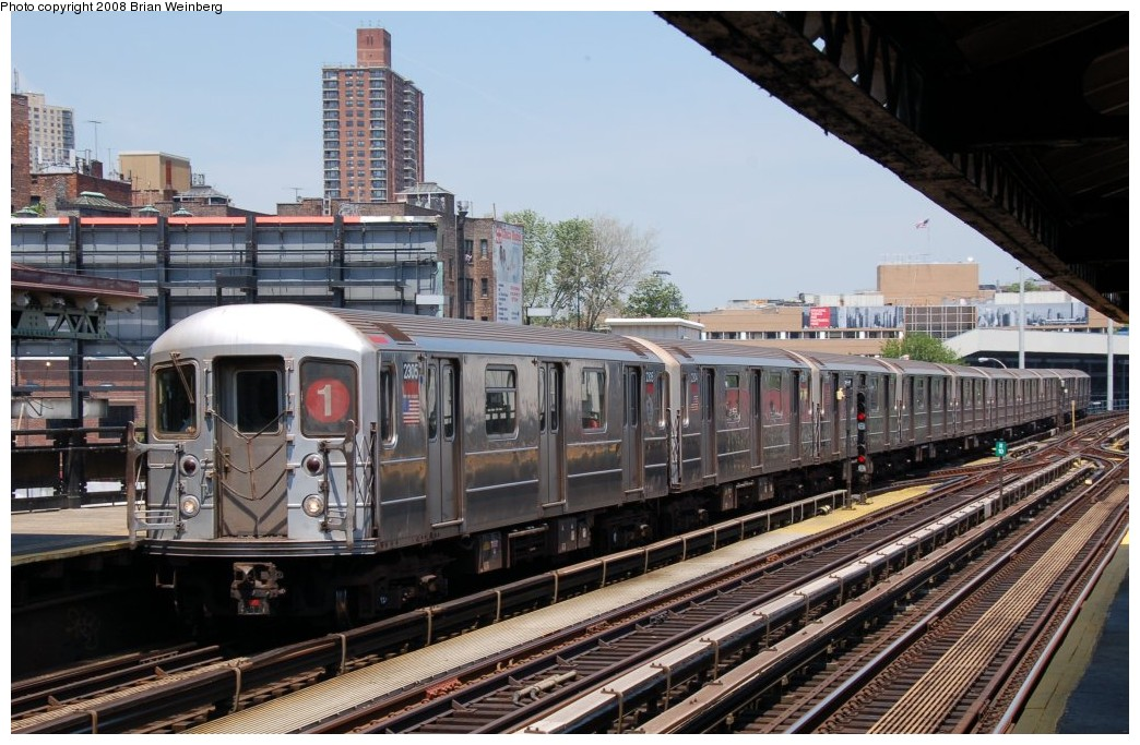 (272k, 1044x683)<br><b>Country:</b> United States<br><b>City:</b> New York<br><b>System:</b> New York City Transit<br><b>Line:</b> IRT West Side Line<br><b>Location:</b> 215th Street <br><b>Route:</b> 1<br><b>Car:</b> R-62A (Bombardier, 1984-1987)  2305 <br><b>Photo by:</b> Brian Weinberg<br><b>Date:</b> 5/26/2008<br><b>Viewed (this week/total):</b> 0 / 1473