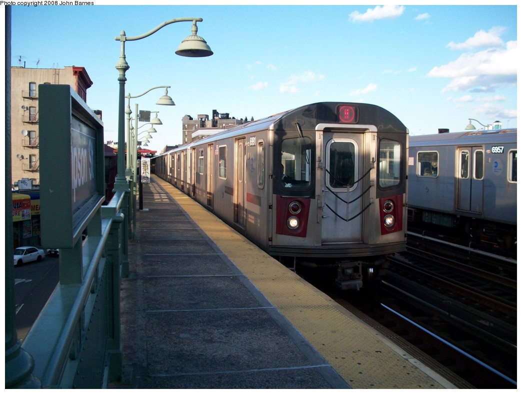 (199k, 1044x788)<br><b>Country:</b> United States<br><b>City:</b> New York<br><b>System:</b> New York City Transit<br><b>Line:</b> IRT White Plains Road Line<br><b>Location:</b> Simpson Street <br><b>Route:</b> 5<br><b>Car:</b> R-142 (Option Order, Bombardier, 2002-2003)  6991 <br><b>Photo by:</b> John Barnes<br><b>Date:</b> 5/19/2008<br><b>Viewed (this week/total):</b> 0 / 2833