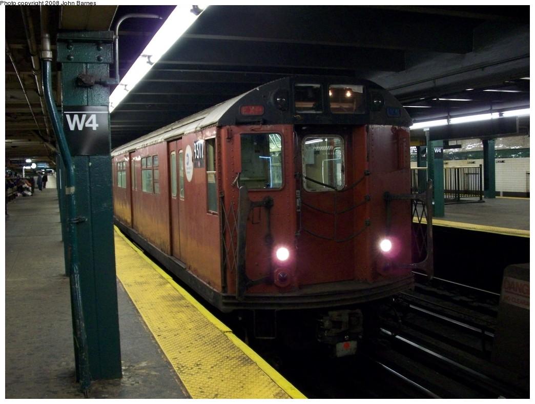 (194k, 1044x788)<br><b>Country:</b> United States<br><b>City:</b> New York<br><b>System:</b> New York City Transit<br><b>Line:</b> IND 8th Avenue Line<br><b>Location:</b> West 4th Street/Washington Square <br><b>Route:</b> Work Service<br><b>Car:</b> R-33 World's Fair (St. Louis, 1963-64) 9317 <br><b>Photo by:</b> John Barnes<br><b>Date:</b> 5/22/2008<br><b>Viewed (this week/total):</b> 0 / 1887